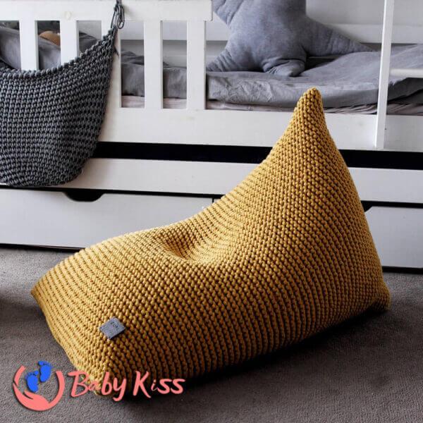 Gối lười ghế lười dệt kim dáng thuyền ghế lười hạt đậu