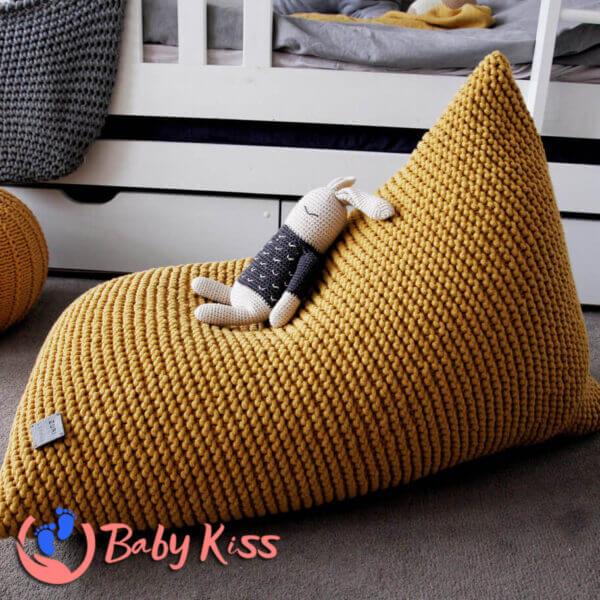Gối lười ghế lười dệt kim dáng thuyền ghế lười hạt đậu giá rẻ HCM